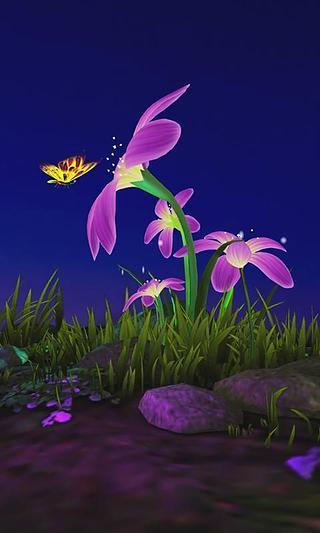 蝴蝶花3D壁纸