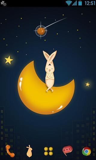 GO主题月亮上的兔子