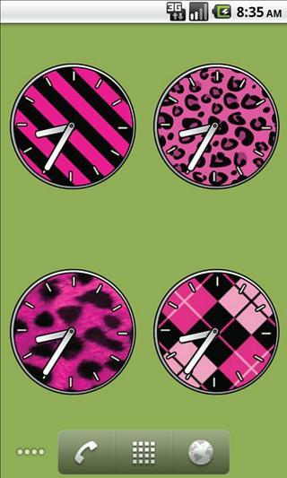 Pink Girly Clock Widgets