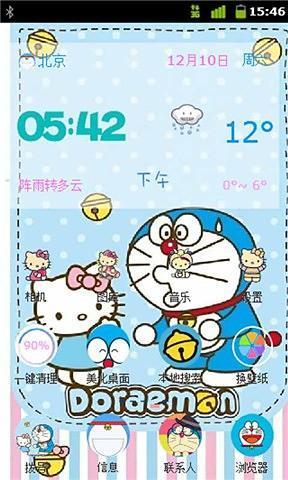kitty猫与哆啦a梦-91桌面主题美化