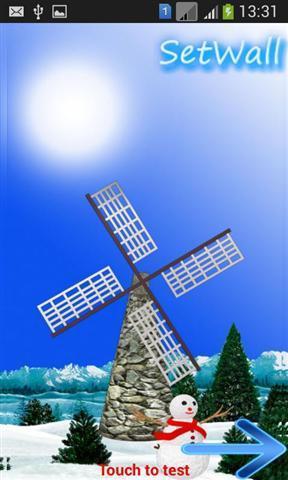 风车 冬天雪壁纸