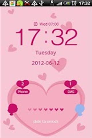 粉色爱心GO主题锁屏