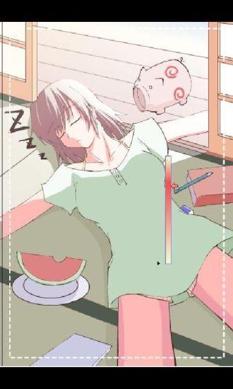 美眉睡地板