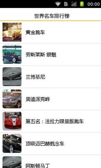 世界名车排行榜