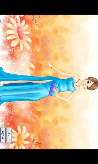 蓝色礼服美女换装