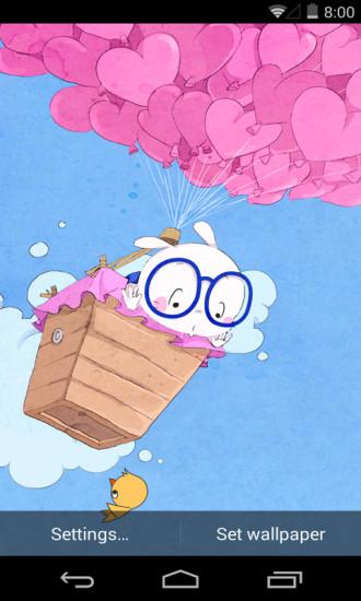 扑克兔爱的气球梦象动态壁纸
