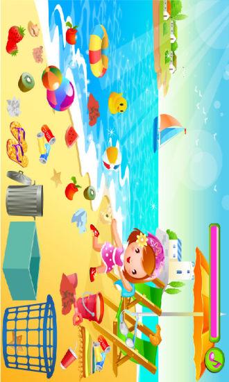 小女孩清洁海滩