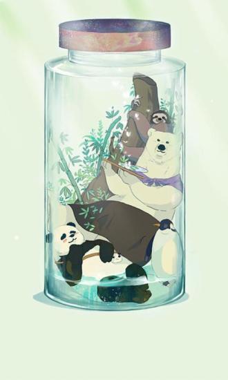 白熊和他的朋友们-绿豆动态壁纸
