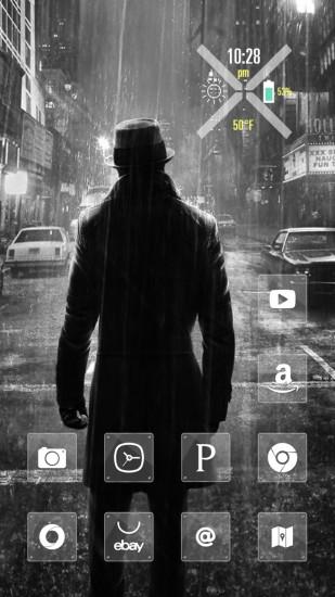 雨中黑衣人黑白主题