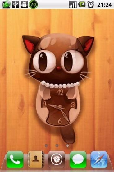 可爱猫咪时钟壁纸