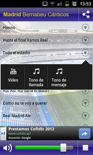 Madrid Bernabeu Chants