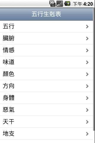 五行生剋表 Wu Xing Table